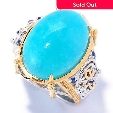 129-231 - Gems en Vogue 18 x 13mm Amazonite & Sapphire ''Cathedral Door'' Ring