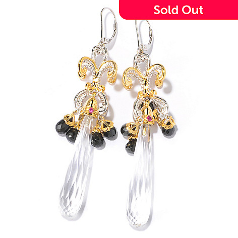 129-233 - Gems en Vogue Elongated Rock Crystal & Multi Gem Chandelier Earrings