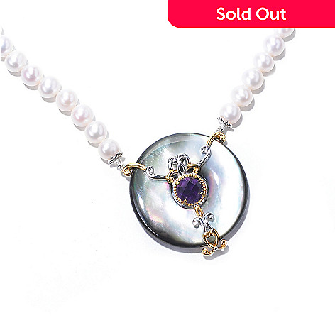 129-236 - Gems en Vogue 35mm Tahitian Shell, Amethyst & Cultured Pearl Strung Necklace