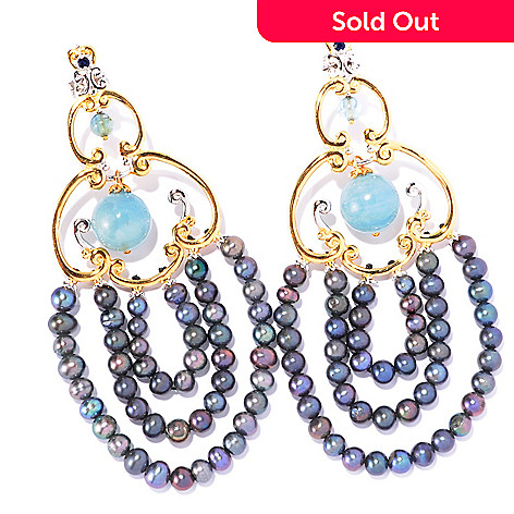 129-238 - Gems en Vogue 4-4.2mm Cultured Freshwater Pearl Tiered Chandelier Earrings