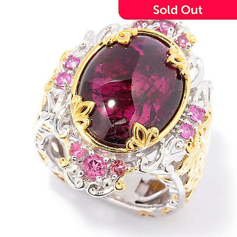 129-249 - Gems en Vogue 16 x 12mm Rhodolite Garnet, Pink Tourmaline & Pink Sapphire Ring