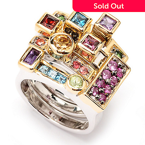 129-250 - Gems en Vogue Set of Four 2.29ctw Multi Gemstone ''Original Manhattan'' Rings