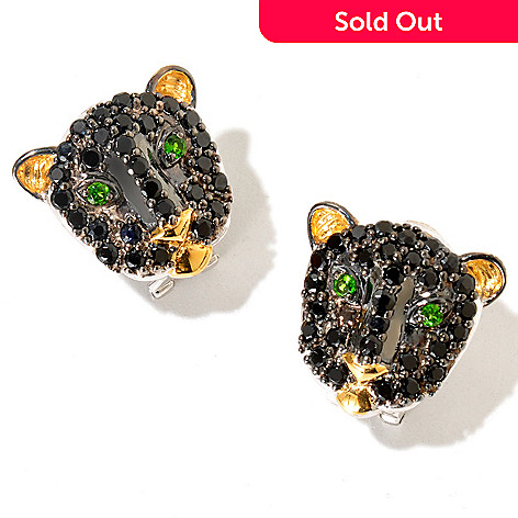 129-251 - Gems en Vogue Black Spinel & Chrome Diopside Panther Earrings w/ Omega Backs