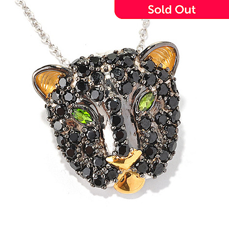 129-252 - Gems en Vogue Black Spinel & Chrome Diopside Panther Pendant/Pin w/ Chain