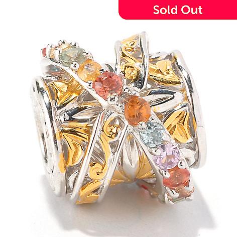 129-259 - Gems en Vogue Multi Color Sapphire Cylinder Shaped Slide-on Charm