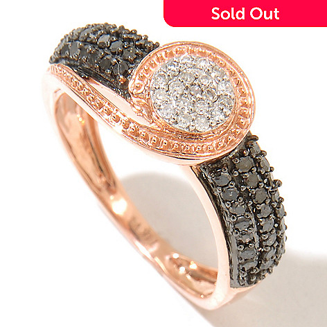 129-262 - Diamond Treasures 14K Rose Gold 0.49ctw Black & White Diamond Loop Ring