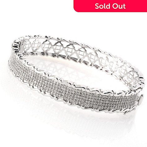 129-263 - Diamond Treasures® Sterling Silver 1.97ctw Diamond Wave Edged Bangle Bracelet