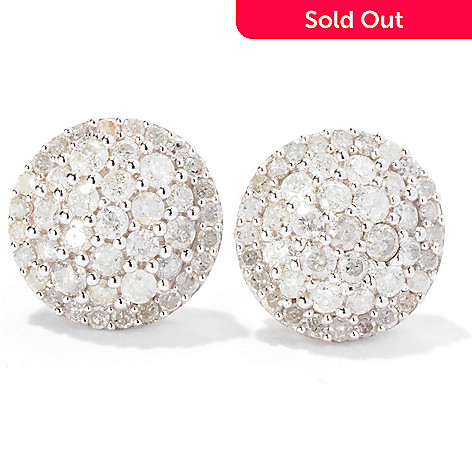 129-268 - Diamond Treasures® Sterling Silver 1.00ctw Diamond Pave Circle Stud Earrings