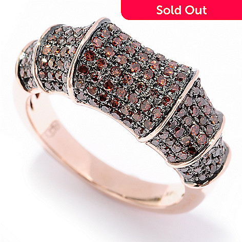 129-271 - Diamond Treasures® 14K Gold 0.85ctw Fancy Color Diamond Bamboo-Style Ring