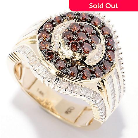 129-275 - Diamond Treasures® 14K Gold 1.99ctw Red & White Diamond Dual Circle Ring