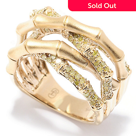 129-281 - Southport Diamonds 0.85ctw Yellow Diamond Bamboo-style Crossover Ring