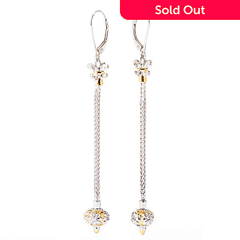 129-283 - Gems en Vogue White Sapphire Wheat Chain 2.75'' Dangle Earrings w/ Removable Bead