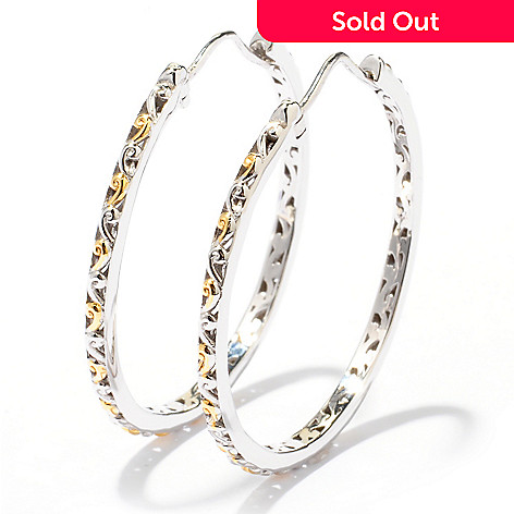 129-284 - Gems en Vogue Scrollwork Hoop Earrings
