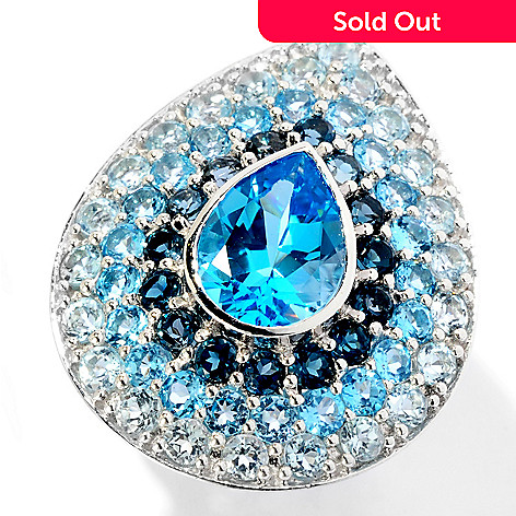 129-286 - Gem Insider Sterling Silver 8.48ctw Multi- Shade Blue Topaz Pear Shaped Ring