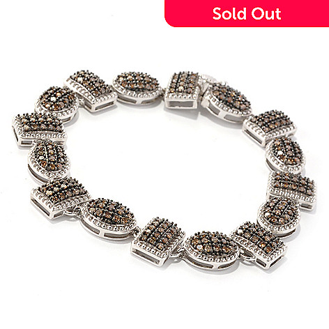 129-290 - Diamond Treasures Sterling Silver 7.25'' Mocha Diamond Multi Link Bracelet