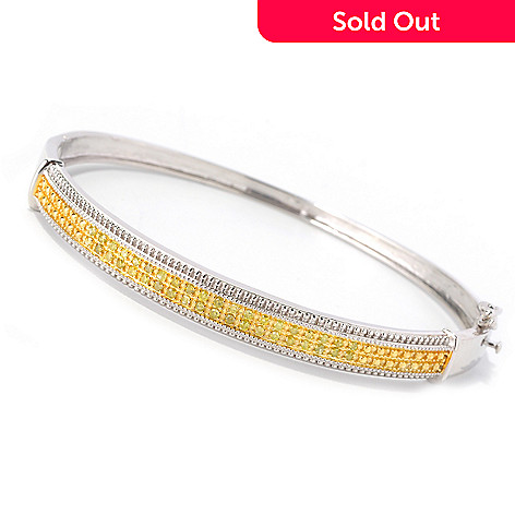 129-291 - Diamond Treasures Sterling Silver 0.50ctw Fancy Color Diamond Bangle Bracelet