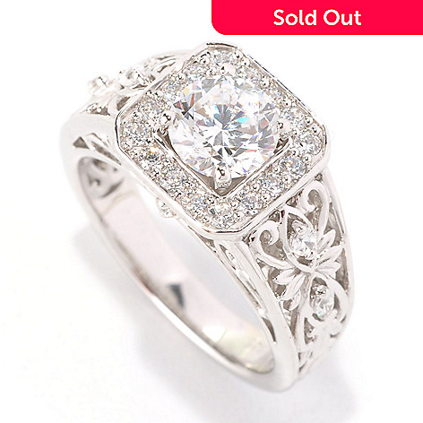 129-302 - Chad Allison™ for Brilliante® Platinum Embraced™ 1.38 DEW Filigree Halo Ring