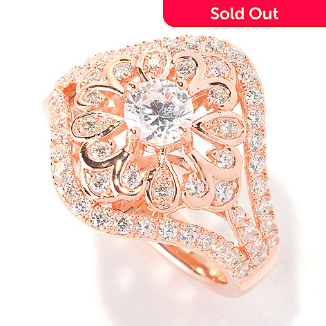 129-303 - Chad Allison™ Gold Embraced™ 1.47 DEW Round Cut Simulated Diamond Flower Ring