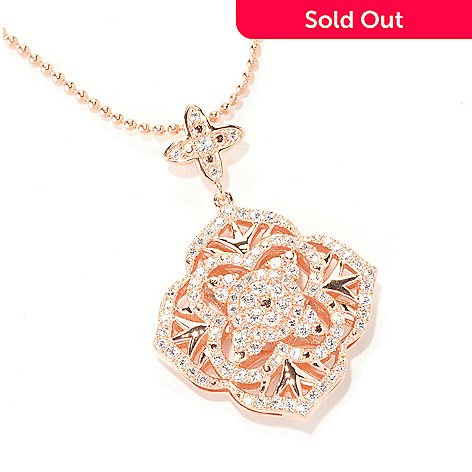 129-306 - Chad Allison™ Gold Embraced™ 1.49 DEW Simulated Diamond Flower Pendant
