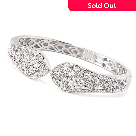 129-310 - Chad Allison™ Platinum Embraced™ Filigree Tapered Simulated Diamond Hinged Bracelet