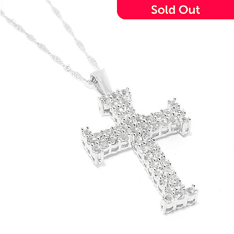 129-312 - Gem Treasures Sterling Silver Gemstone Cross Pendant w/ 18'' Chain