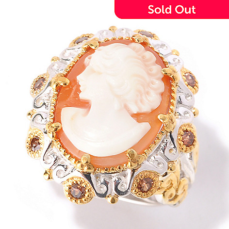 129-316 - Gems en Vogue 17 x 13mm Carved Shell Cameo & Mocha Zircon Ring
