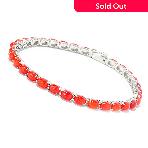 129-317 - Gem Insider™ Sterling Silver Oval Cut Dyed Orange Opal Tennis Bracelet