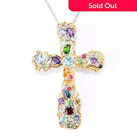 129-318 - Gems en Vogue 3.28ctw Multi Gem ''Carnaval'' Cross Enhancer w/ 18'' Chain