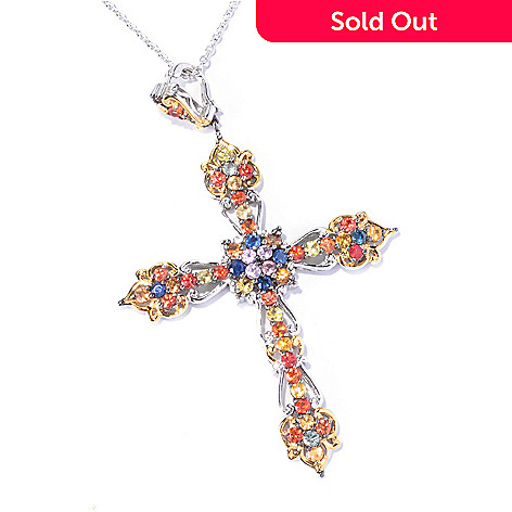 129-319 - Gems en Vogue 3.00ctw Multi Color Sapphire Cross Enhancer Pendant w/ Chain