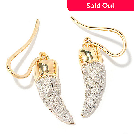129-321 - Southport Diamonds Sterling Silver & 14K Vermeil 1.00ctw Diamond Horn Earrings