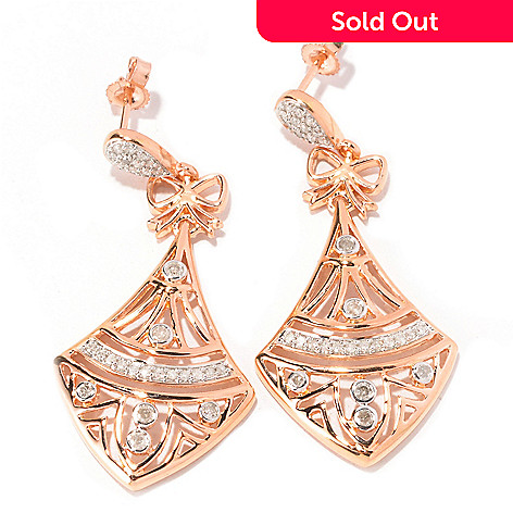 129-322 - Southport Diamonds Sterling Silver & 14K Rose Vermeil 0.50ctw Diamond Triangle Earrings