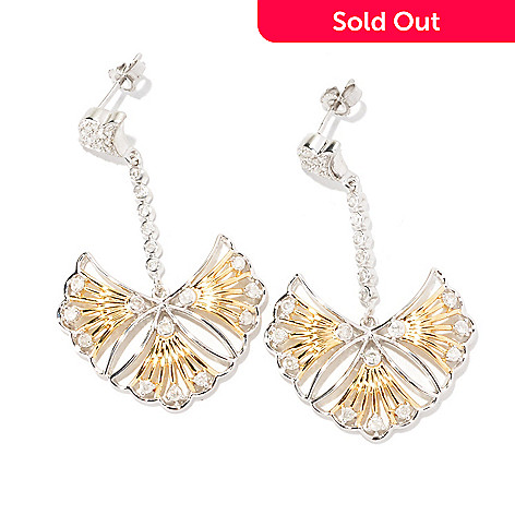 129-323 - Southport Diamonds Sterling Silver & 14K Vermeil 0.85ctw Diamond Open Fan Earrings