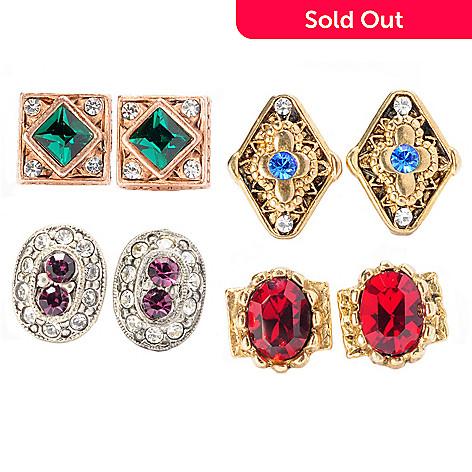 129-328 - Sweet Romance™ Set of Four Crystal Stud Earrings