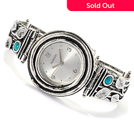 129-343 - Passage to Israel Sterling Silver 6.5'' Turquoise Leaf Design Watch