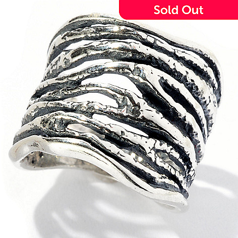 129-344 - Passage to Israel Sterling Silver Textured Lines Ring