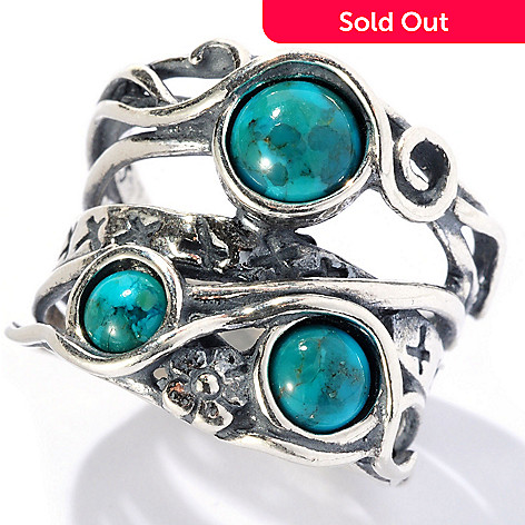 129-345 - Passage to Israel™ Sterling Silver Turquoise Three-Stone ''Highway'' Ring