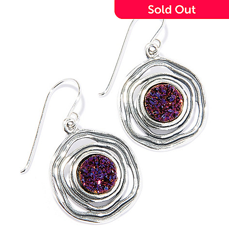 129-348 - Passage to Israel Sterling Silver 8mm Burgundy Drusy Circle Dangle Earrings
