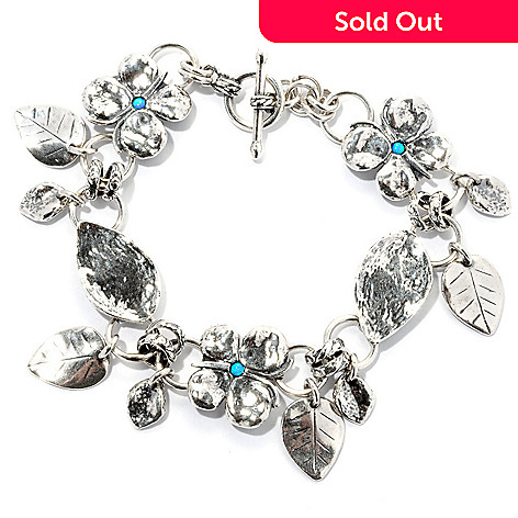 129-349 - Passage to Israel Sterling Silver Simulated Blue Opal Butterflies & Leaves Toggle Bracelet
