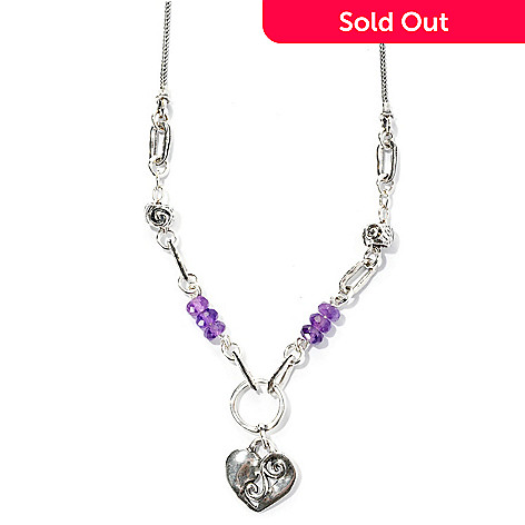 129-352 - Passage to Israel™ Sterling Silver 18'' Amethyst Bead Heart Dangle Necklace