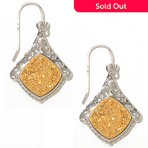 129-355 - Gem Insider™ Sterling Silver 1.5'' 12mm Square Drusy Earrings