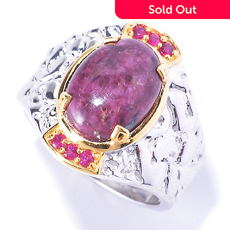 129-358 - Men's en Vogue 14 x 10mm Opaque Tourmaline & Ruby Ring