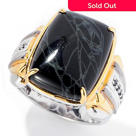 129-361 - Men's en Vogue 20 x 15mm Spider Web Jasper & Sapphire Ring