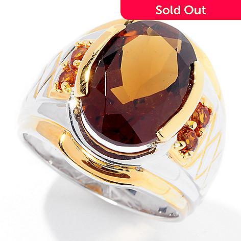 129-363 - Men's en Vogue 8.03ctw Whiskey Quartz & Madeira Citrine Ring
