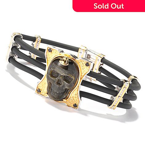 129-365 - Men's en Vogue 25 x 15mm Carved Black Obsidian & Black Spinel Skull Bracelet