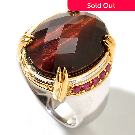 129-366 - Men's en Vogue 20 x 15mm Checkerboard Cut Tiger's Eye & Ruby Ring