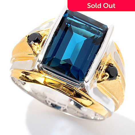 129-371 - Men's en Vogue 8.94ctw Emerald Cut London Blue Topaz & Black Spinel Ring