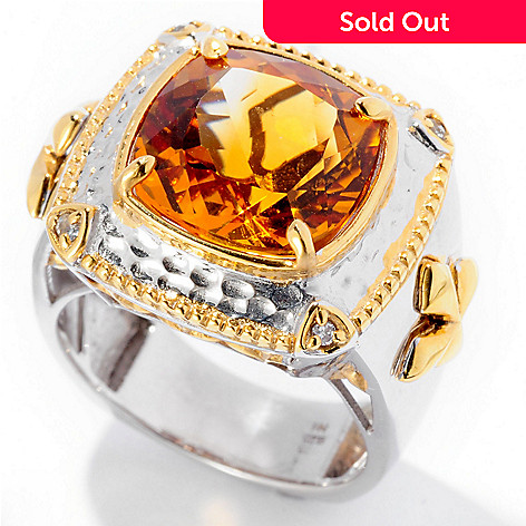129-372 - Men's en Vogue 8.29ctw Citrine & White Sapphire Cross Detail Ring