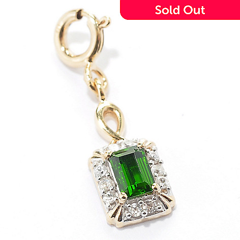 129-377 - NYC II™ Chrome Diopside & White Zircon Rectangular Drop Charm