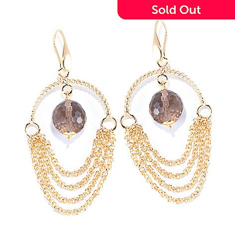 129-381 - Milano Luxe Gold Embraced™ Gemstone & Multi Chain Chandelier Earrings