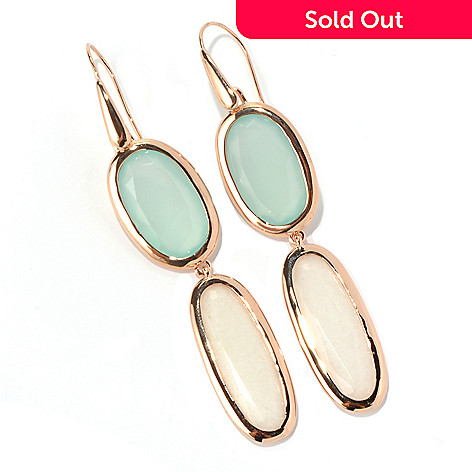 129-385 - Milano Luxe Gold Embraced™ White & Aqua Chalcedony Drop Earrings